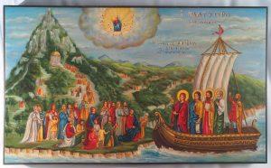 Εικόνα «Υποδοχή της Θεοτόκου εις Άγιον Όρος υπο των ειδωλολατρών»
