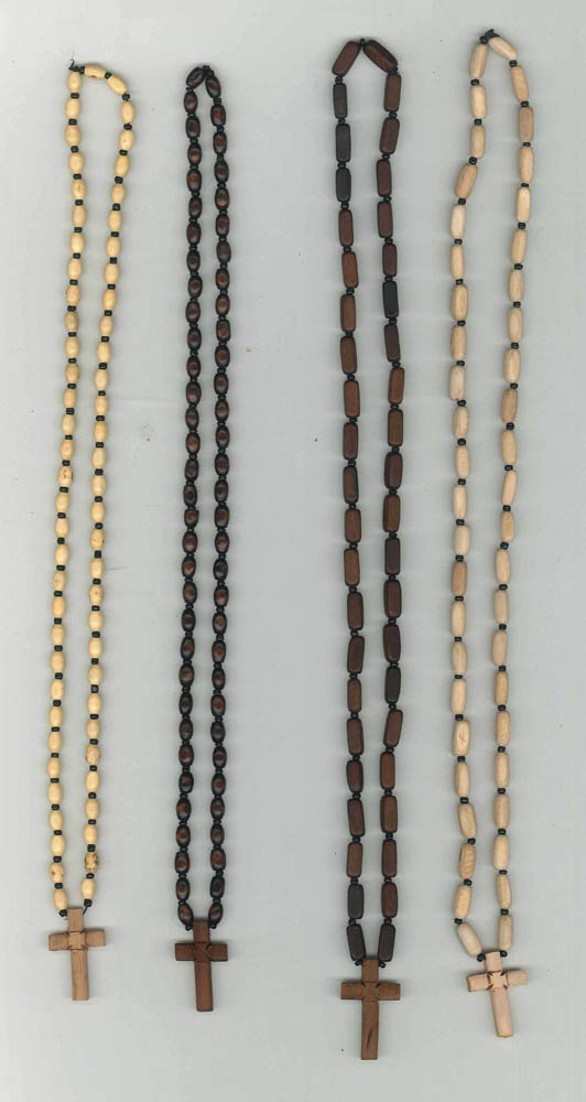 wooden cross with wooden beads