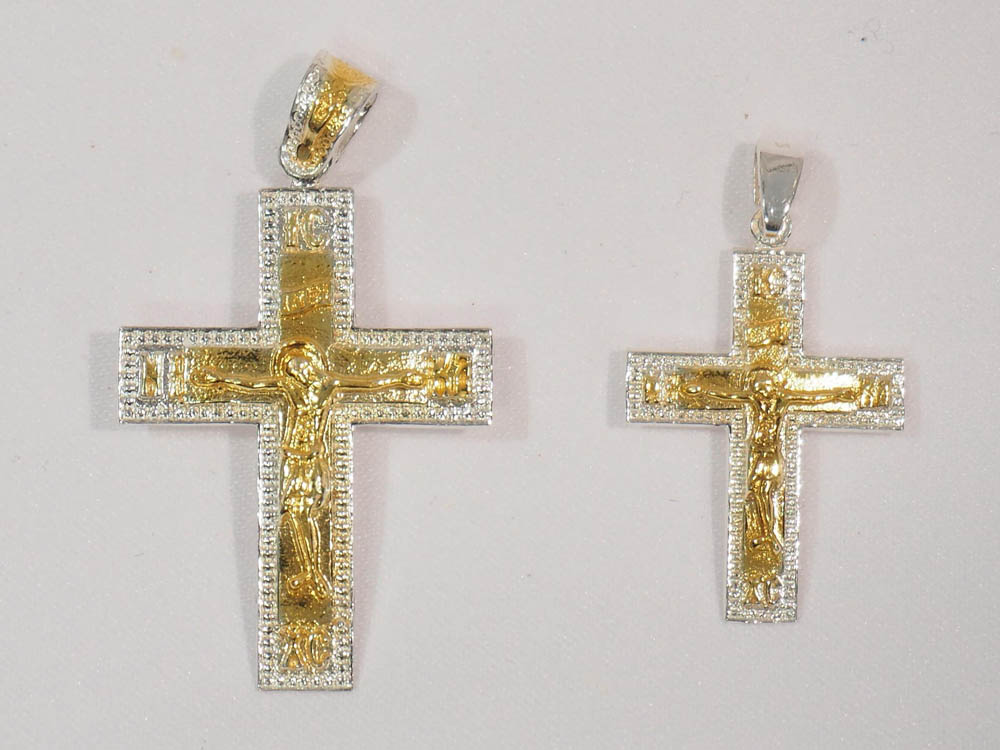 silver gold-plated cross
