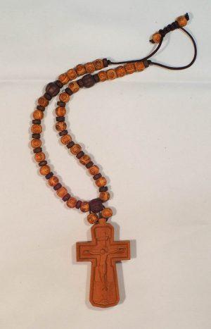 ξύλινος σταυρός με ξύλινες χάντρες