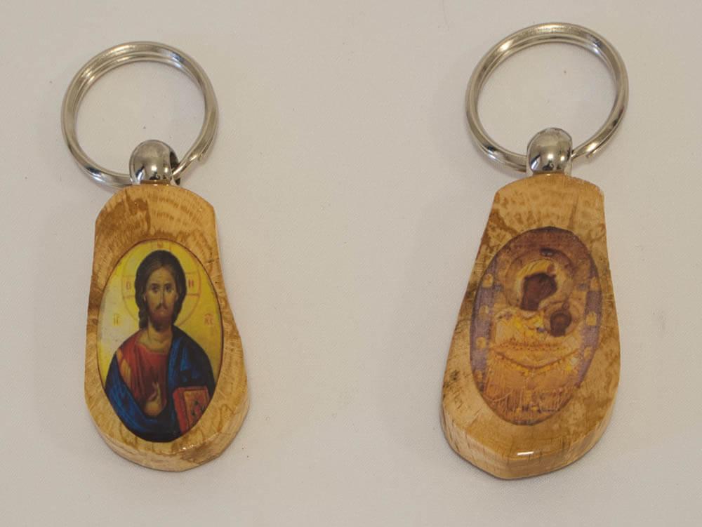 ξύλινο μπρελόκ με Παναγία Πορταΐτισσα και Χριστός (διπλής όψης)
