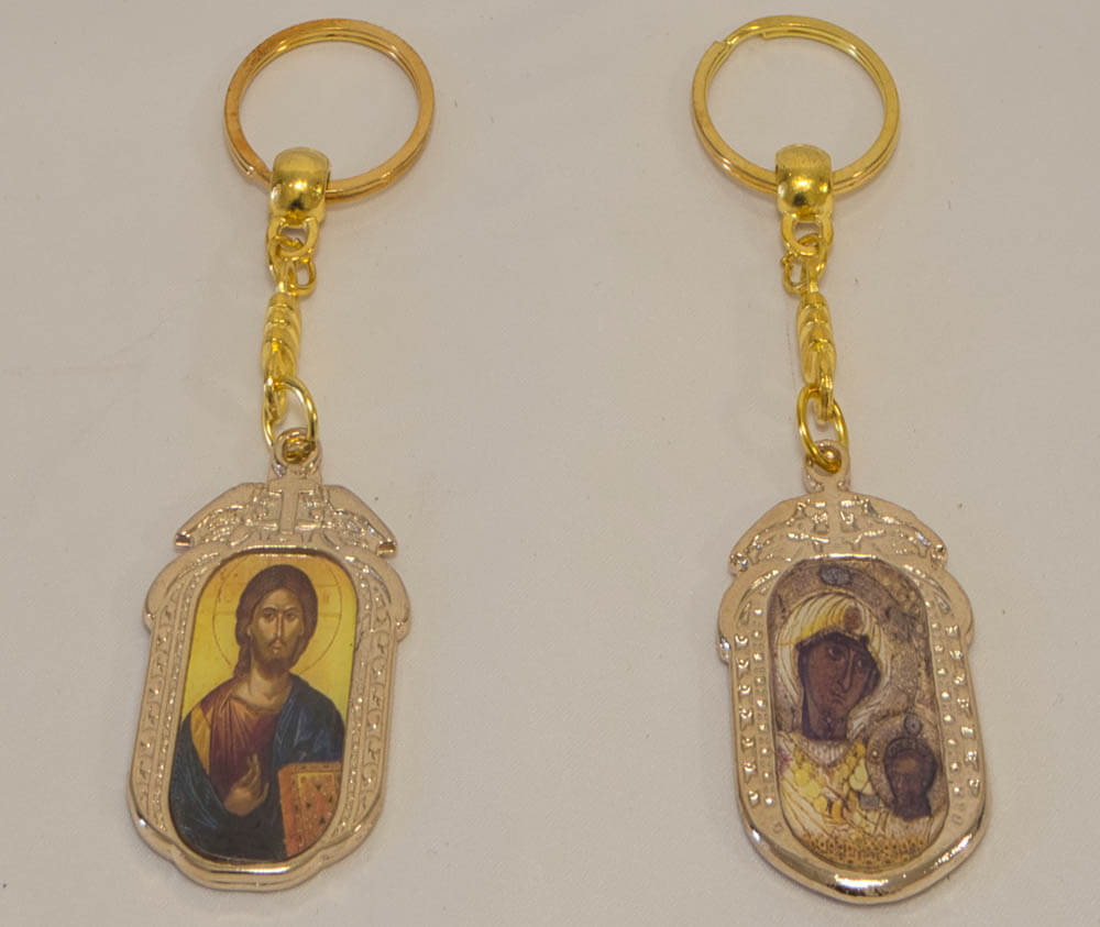 μεταλλικό μπρελόκ με Παναγία Πορταΐτισσα και Χριστός (διπλής όψης)