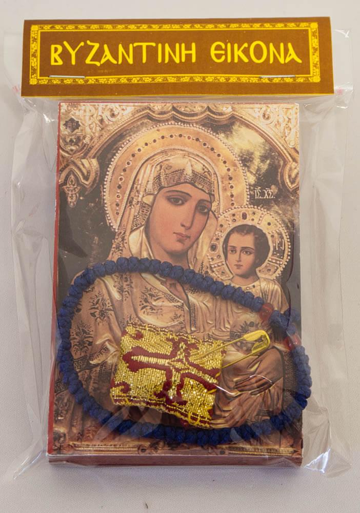 εικόνα Παναγία Ιεροσολυμίτισσα, κομποσχοίνι χεριού και φυλαχτό