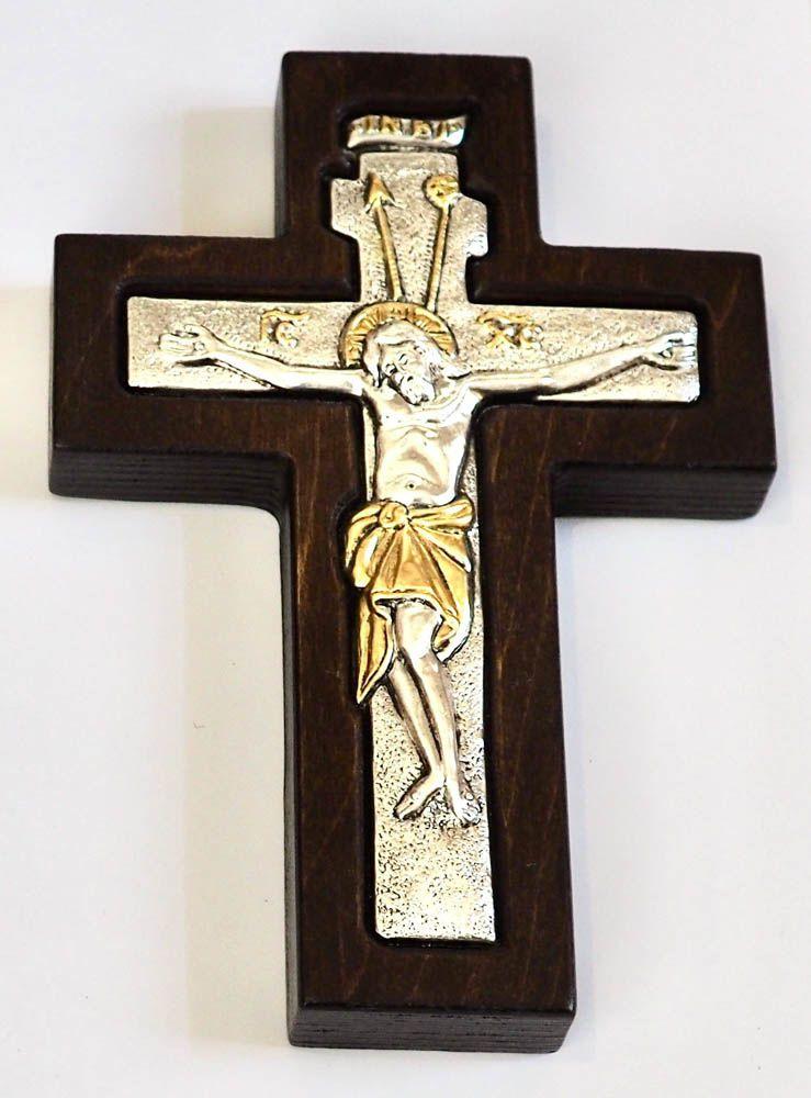 σταυρός επαργυρωμένος με ξύλινη μπουρντούρα