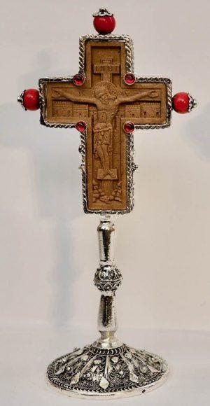 επαργυρωμένος συρματερός και ξύλινος σταυρός αγιασμού