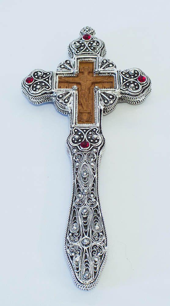 επαργυρωμένος συρματερός και ξύλινος σταυρός ευλογίας