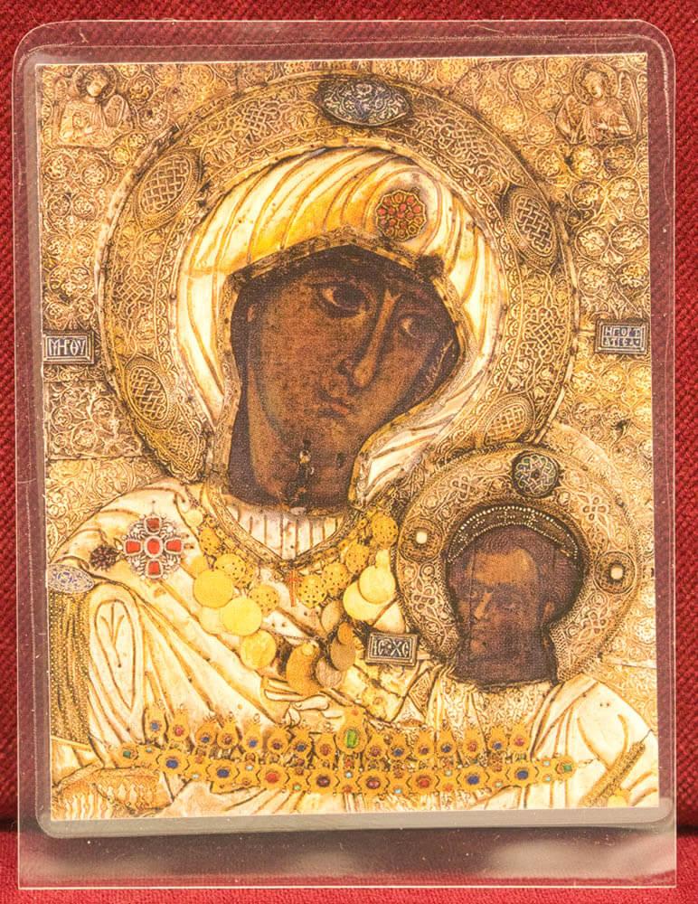 πλαστικοποιημένη εικόνα Παναγία Πορταΐτισσα λεπτομέρεια